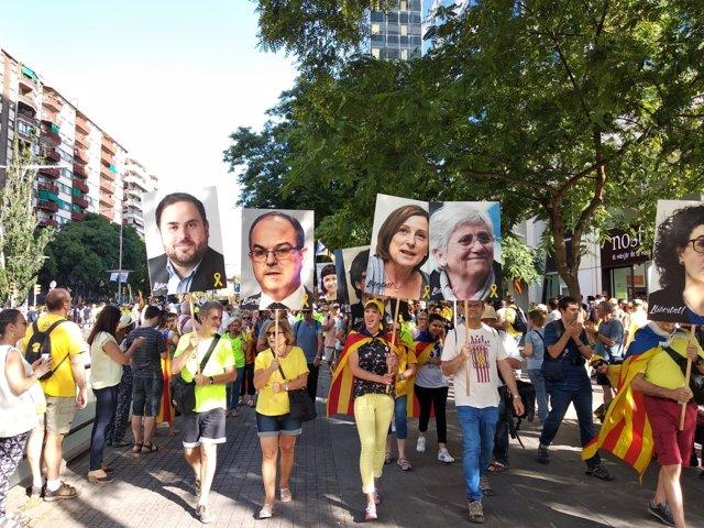 Manifestación en Barcelona para pedir libertad para los presos soberanistas