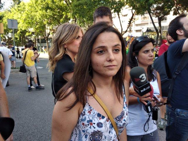 Maria Sirvent (CUP) en la  manifestación de los presos soberanistas