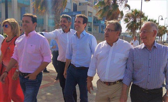 Pablo Casado llega a Roquetas de Mar con Juan Ignacio Zoido