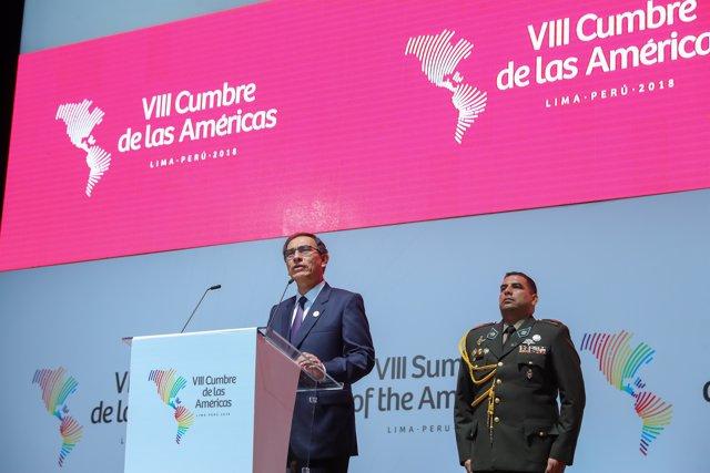 El presidente de Perú, Martin Vizcarra, en la cumbre de las Américas 2018