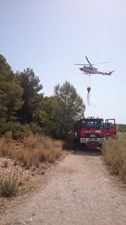 Incendio en el Montgó, en Xàbia