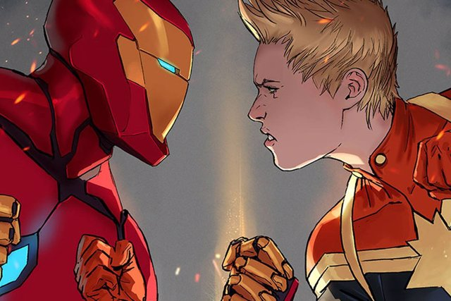 Iron Man y Capitana Marvel