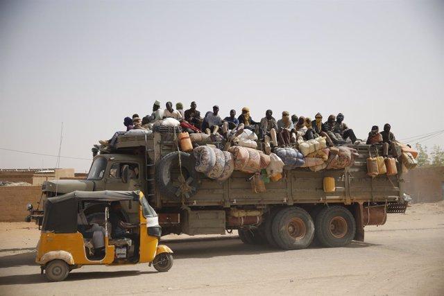 Inmigrantes en Agadez, Níger.