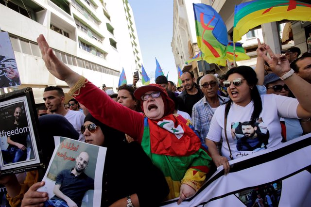Manifestación contra el encarcelamiento de los líderes de las protestas del Rif