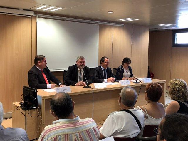 Los abogados Miguel Ángel Durán, Miguel Durán, José María Palacio y la afectada