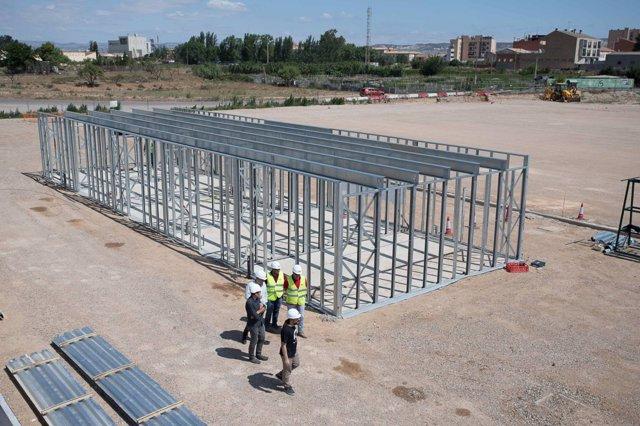 La estructura del nuevo edificio de vesturarios en el campo de Casetas