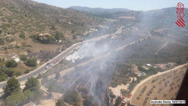 Incendio en Dénia, cerca del Montgó, del 16 de julio de 2018