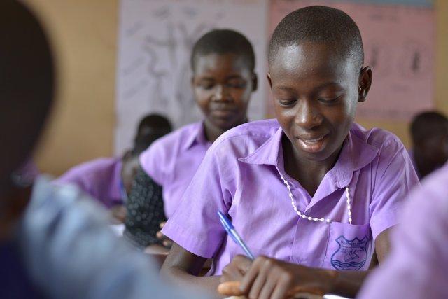 Estudiantes en una escuela en Sudán del Sur