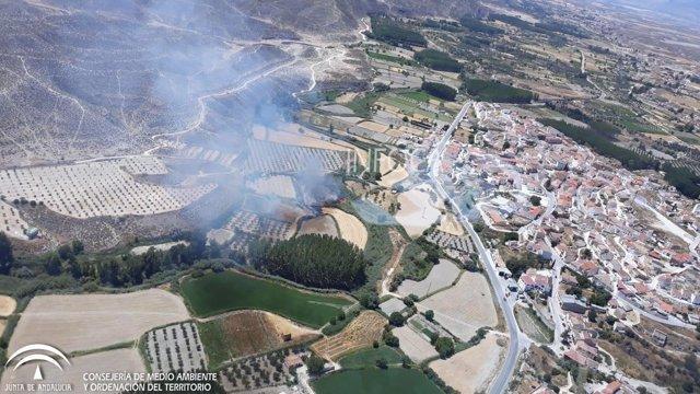 Incendio forestal en Castilléjar