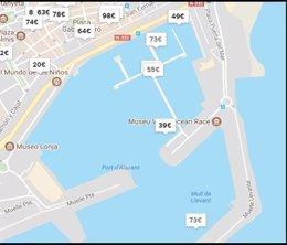 Puerto de Alicante con los precios de las embarcaciones ofertadas