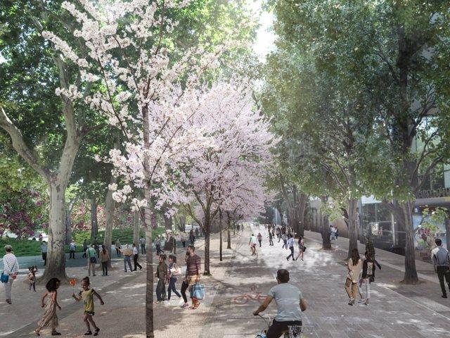 Recreación del pasillo peatonal que conectará Ferraz con Plaza España