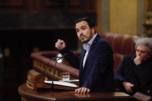 Alberto Garzón en la moción de censura contra Rajoy