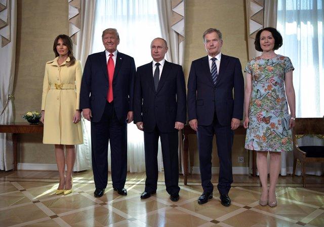 Donald Trump, Vladimir Putin y Sauli Niinisto
