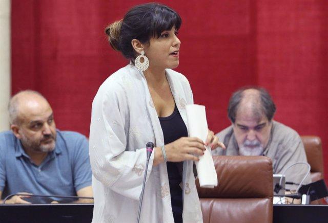 Teresa Rodríguez, este jueves, en el Parlamento