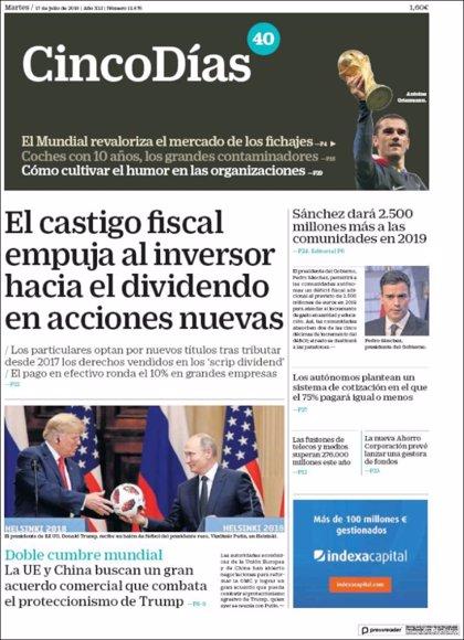 Las portadas de los periódicos económicos de hoy, martes 17 de julio