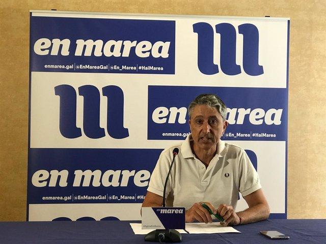 Gonzalo Rodríguez, miembro de la coordinadora de En Marea, en rueda de prensa
