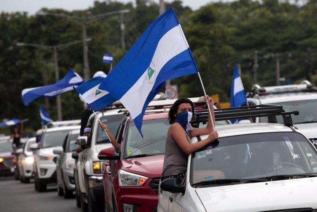 Manifestantes antigubernamentales en Ticuantepe (Nicaragua)