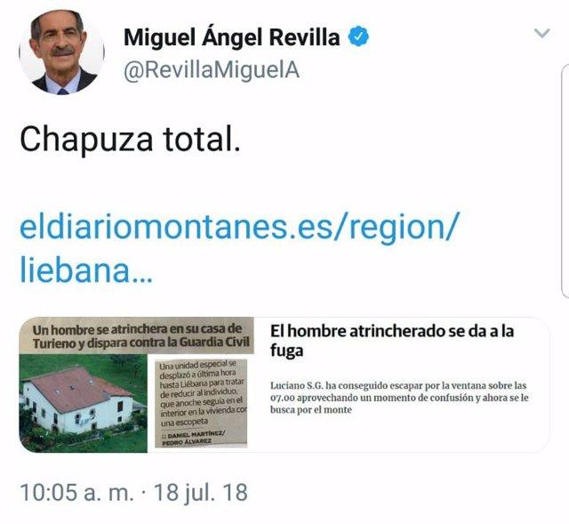 """Tuit de Revilla calificando como """"chapuza"""" lo sucedido en Turieno"""