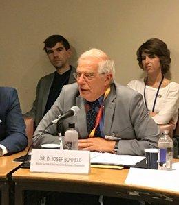 El ministro Josep Borrell en la sede de Naciones Unidas