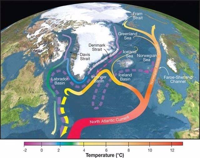 Circulación del agua profunda en el Atlántico Norte