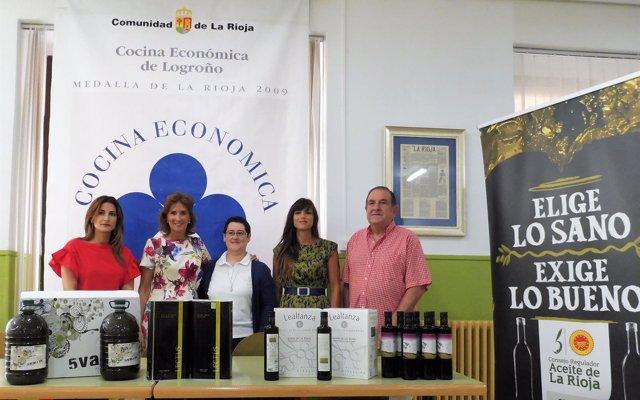 La DOP Aceite de La Rioja y el Centro Cultural Ibercaja donan 230 litros de aceite a la Cocina Económica