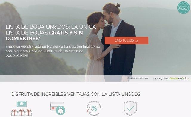 Web de la lista de bodas Un&Dos fruto del acuerdo de Bankia y Zankyou