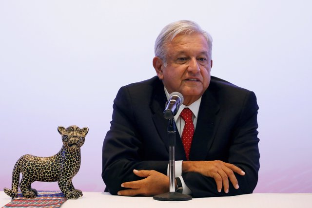 Mexico's President-elect Andres Manuel Lopez Obrador talks to the media during a