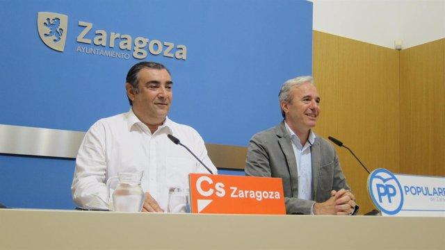 Concejales de Zaragoza, de Cs, Alberto Casañal, y del PP, Jorge Azcón