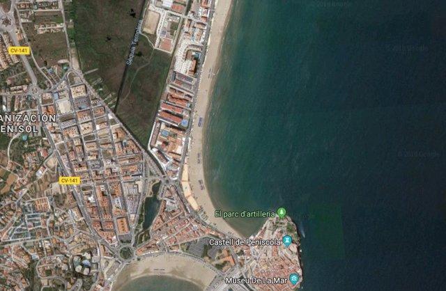 Vista aérea de una playa de Peñíscola