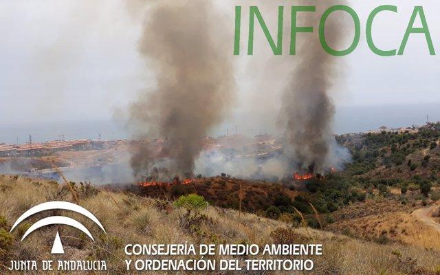 Extinguido el incendio forestal declarado en el paraje El Higuerón, en Fuengirola (Málaga)