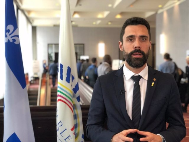 El presidente del Parlament, Roger Torrent, en Quebec (Canadá)