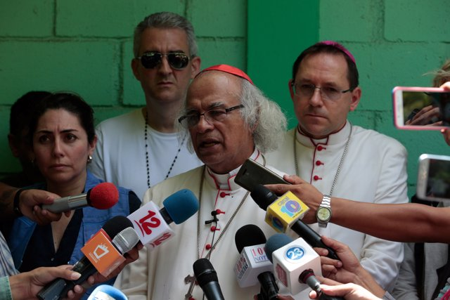 Roman Catholic Cardinal Leopoldo Brenes speaks during a news conference at the M