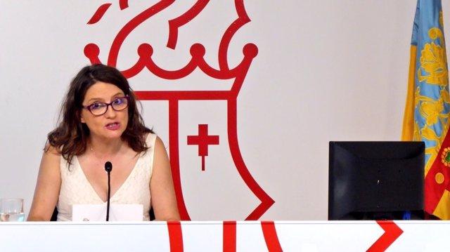 Mónica Oltra en la roda de premsa del Consell