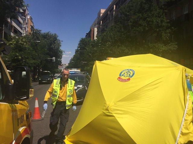 Motorista fallecido en la calle Alcalá
