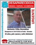 BUSCAN A UN OCTOGENARIO CON ALZHEIMER DESAPARECIDO EN ITRABO (GRANADA)