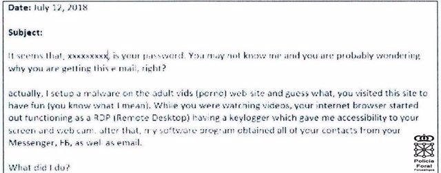 Ejemplo de mail utilizado en el chantaje.