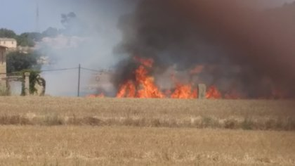 Bomberos y Policía intentan extinguir un incendio en la carretera de Sineu a Ariany