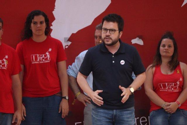 El vicepresidente de la Generalitat, Pere Aragonès, en la Acampada Jove