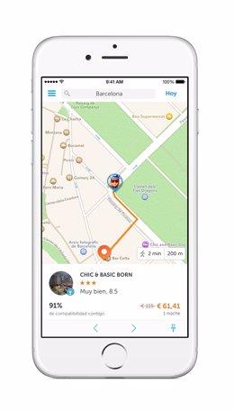Smartphone con reserva de hoteles por GPS