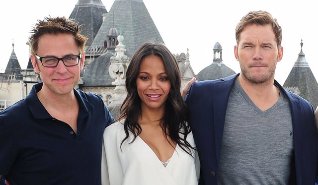 James Gunn, Zoe Saldana y Chris Pratt