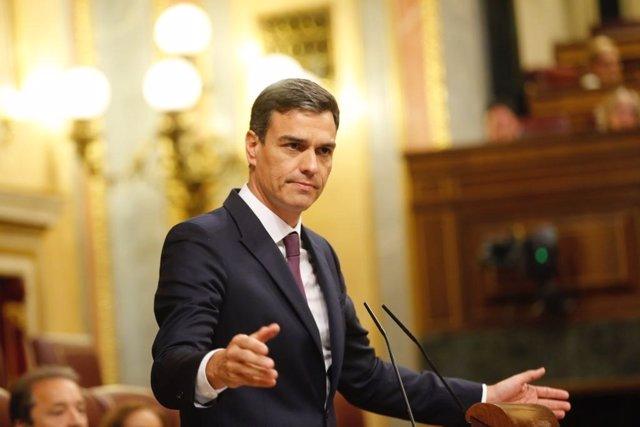 Pedro Sánchez, presidente del Gobierno, en el Congreso