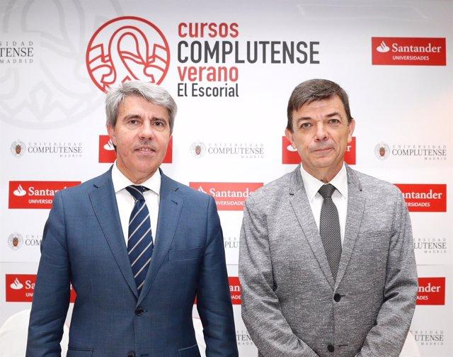 El presidente de la Comunidad de Madrid, Ángel Garrido, y el rector de la UCM