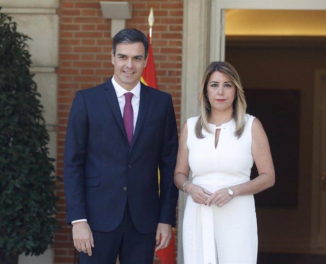 Pedro Sánchez recibe a la presidenta de la Junta de Andalucía, Susana Díaz
