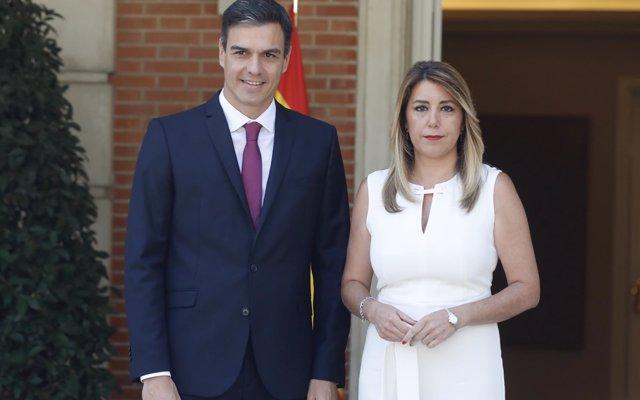 """Pedro Sánchez anuncia a Susana Díaz 500 millones """"inmediatos"""" para Andalucía y un plan especial de empleo en 2019"""