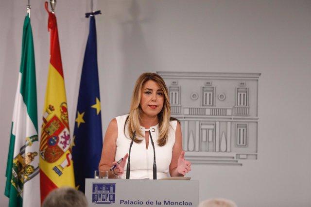 Rueda de prensa de Susana Díaz tras reunirse con Pedro Sánchez