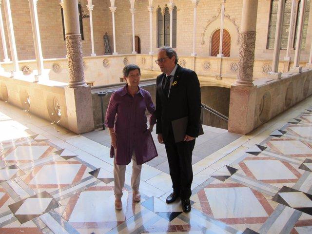 El presidente Quim Torra y la delegada del Gobierno Teresa Cunillera
