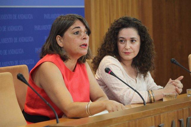 Elena Cortés en rueda de prensa junto a Inmaculada Nieto, diputadas de IU