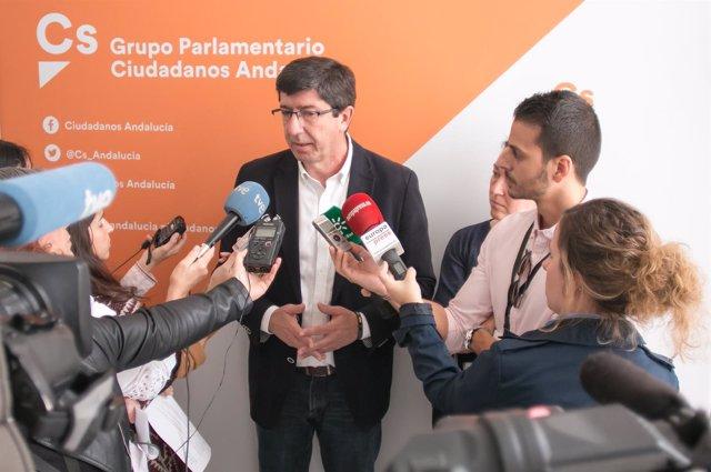 El presidente y portavoz del grupo de Cs en el Parlamento andaluz, Juan Marín