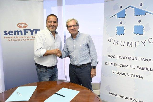 El pte. De semFYC, Salvador Tranche, y el pte. De HURGE, José Manuel Salas