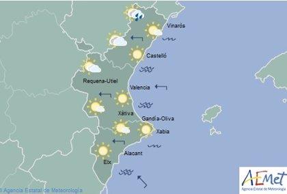 Las máximas bajan este miércoles en Valencia y Alicante y no superarán los 35º